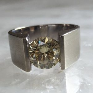 Jewelry - White gold fancy yellow moissanite ring